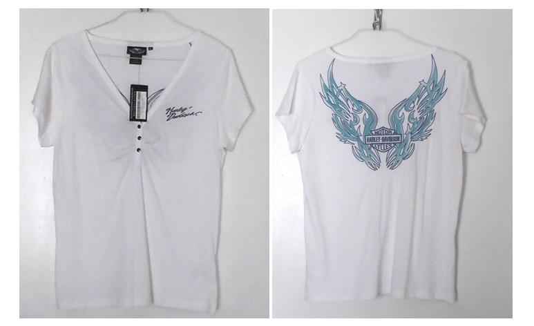 Harley Davidson Ladies Top XL Short Sleeve Embroidered White Blue