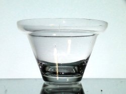 Hanging Candle Holder Cup 3 7/8 x 2.5 Shelf Rim Hand Blown Clear HCH129