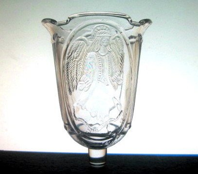 Home Interiors Peg Votive Holder Angel Columns Clear Scalloped Heavy