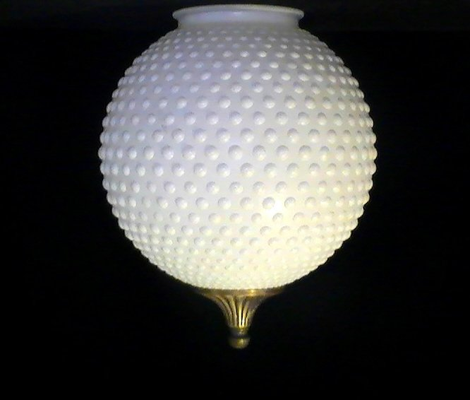 glass lamp shade white hobnail ball 3 7 8 inch fitter with finial oos. Black Bedroom Furniture Sets. Home Design Ideas