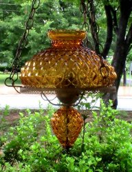 Vintage Mid Century Glass Swag Lamp Quilted Amber 14 x 11 inches Large