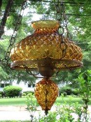 '.Vintage Amber Swag Lamp.'