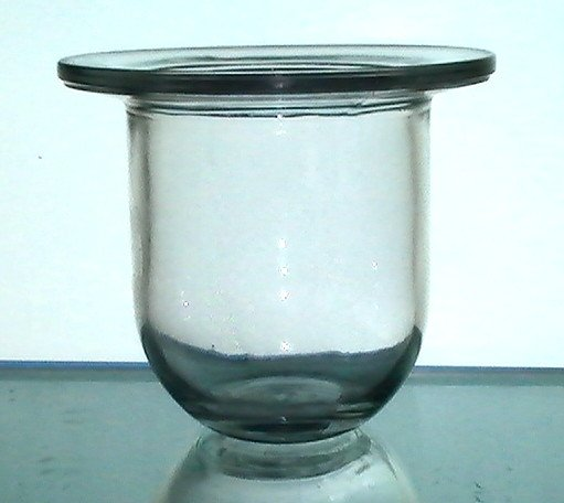 Hanging candle holder 4 x flat rim thick glass pale for Flat candle holders