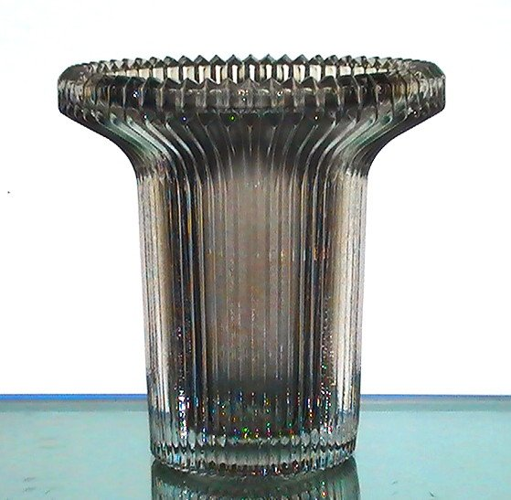 Hanging Candle Holder 4.5 x 4 3/8 Heavy Ridged Crystal