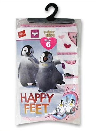 Hanes 3 pk Girls Cotton Briefs Happy Feet Sz 6 GSHP30