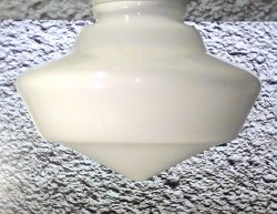 Glass Lamp Shade White Schoolhouse Style 4 inch fitter x 7 x 8 Vintage