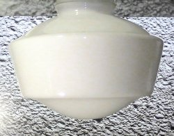 Glass Lamp Shade White Schoolhouse Style 4 inch fitter x 7 x 10.5 with Band