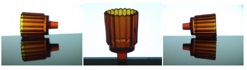 Home Interiors Peg Votive Candle Holder Rounded Ridged Amber