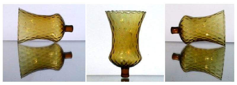 Home Interiors Peg Votive Candle Holder Amber Rippled Tudor Style