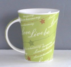 Starbucks Coffee Mug Cup Love Live Be in Harmony Green 12 oz