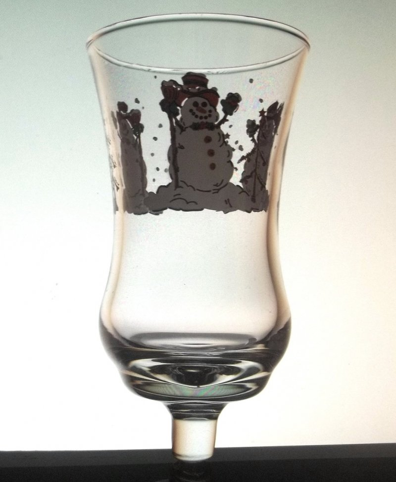 Home Interiors Peg Votive Holder Cup Glass Snowman Clear 5529