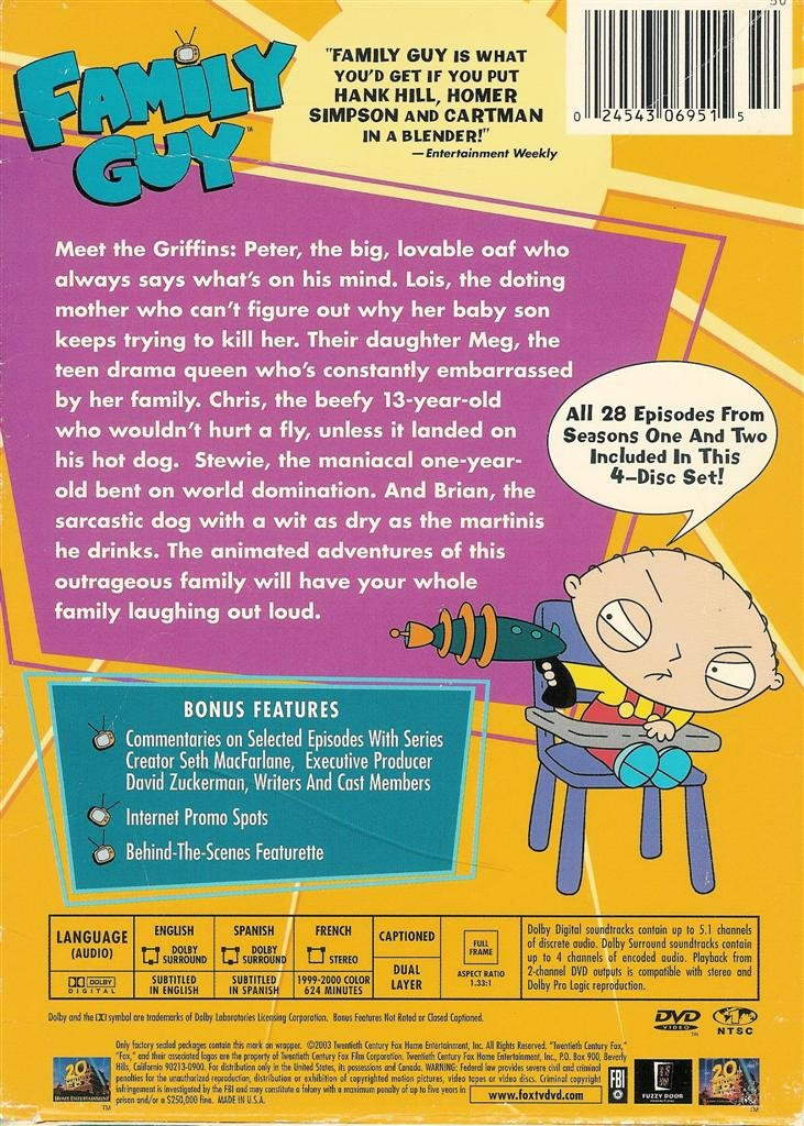 Family Guy Volume 1 Seasons 1 Amp 2 Dvd Box Set 2003 28 Episodes