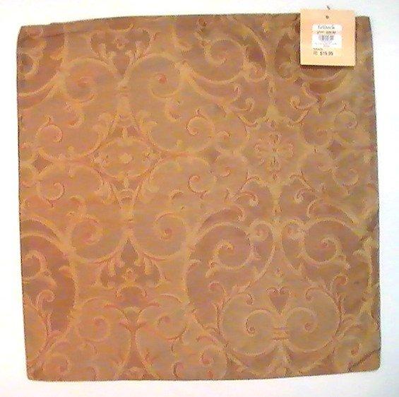 Zippered Pillow Cover Kirklands Gold Copper 16.75 Square Silk