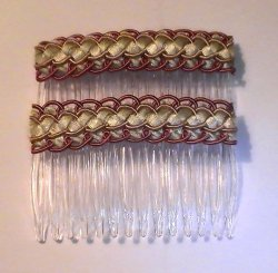 Hair Combs Silk Embroidered Set of 2 Apple Green Copper