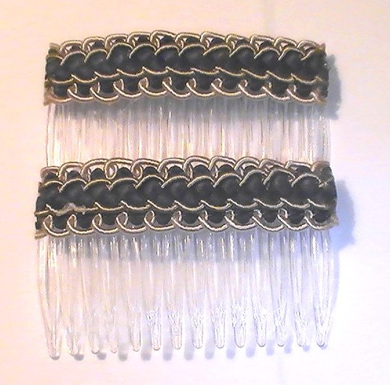 Hair Combs Silk Embroidered Set of 2 Rocky Road Black Gray