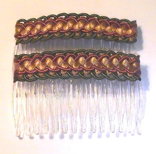 Hair Combs Silk Embroidered Set of 2 Jungle Green Rust Gold