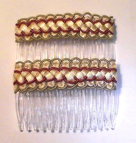 Hair Combs Silk Embroidered Set of 2 Spring Ivory Rust Green Gold