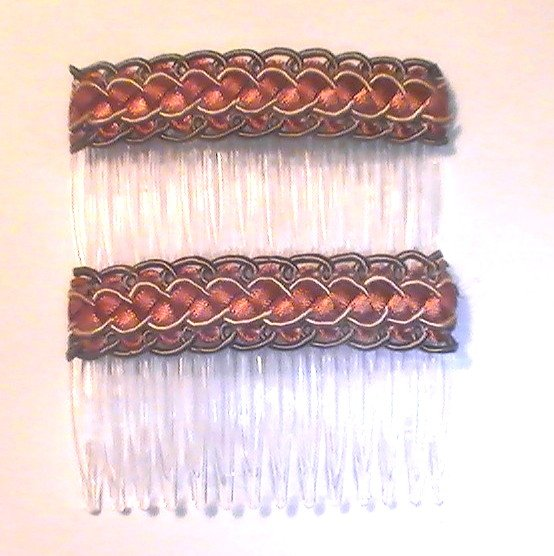 Hair Combs Silk Embroidered Set of 2 Acorn Rust Gold
