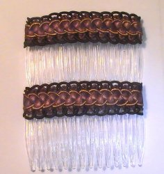 Hair Combs Silk Embroidered Set of 2 Chocolate Brown Gold