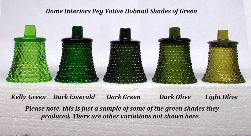 Home Interiors Peg Votive Hobnail Shades of Green