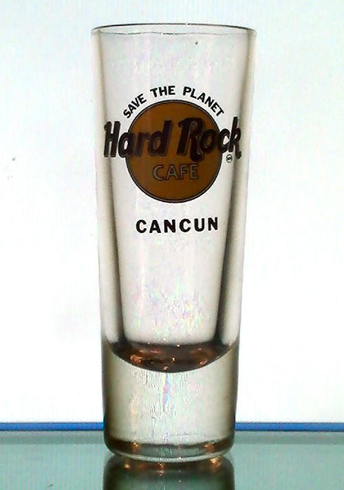 Hard Rock Cafe Cancun, Mexico Collectible Tall Shot Glass Shooter 2 oz