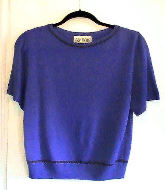 San Remo Knit Twinset Shell and Cardigan Blue Black Ladies M Petite