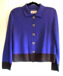 San Remo Knit Twinset Shell and Cardigan Blue Black Ladies M Petite