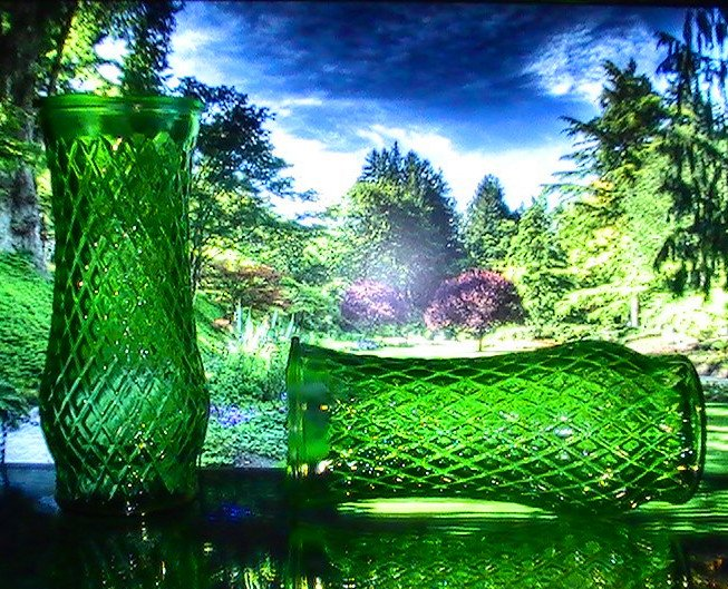 Green Diamond pattern vase CFG CL4 Hoosier Glass 8 in x 3.5 in Lot of 2