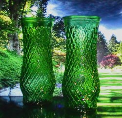 Green Diamond pattern vase CFG CL4 Hoosier Glass 8 in x 3.5 in Lot of 2