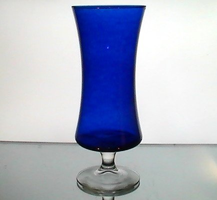 Flower Vase Cobalt Blue Pedestal 9.5 inches Tall