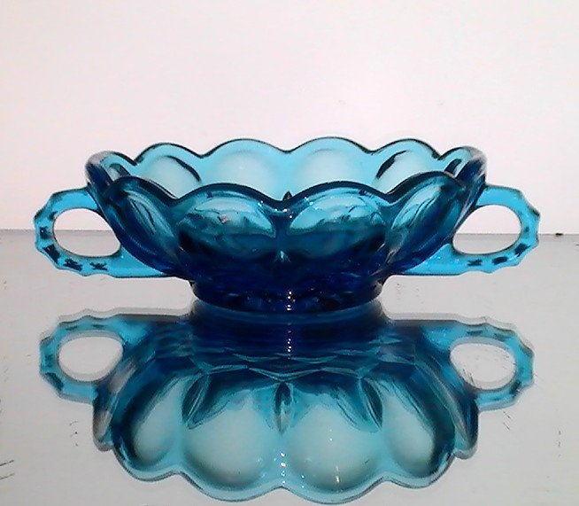 Two Handled Nappy Dish Anchor Hocking Farfield Bowl Laser Blue 1200