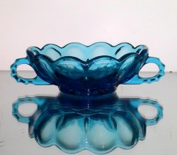 Two Handled Nappy Dish Anchor Hocking Fairfield Bowl Laser Blue 1200