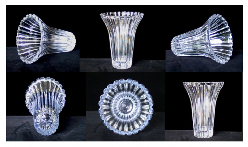 Flower Vase Fine Crystal Beveled Ridges 8 inch x 6.5 Clear Glass
