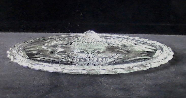Beveled Cake Plate with Floral Center 11.25 inch Scalloped Edge Vintage