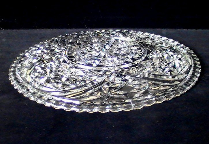 Thousand Lines Torte Platter aka Stars & Bars by Anchor Hocking Crystal 12.75 inches Vintage