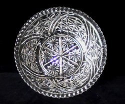 Thumbnail of Thousand Lines 10.5 inch Bowl aka Stars & Bars by Anchor Hocking Crystal Vintage