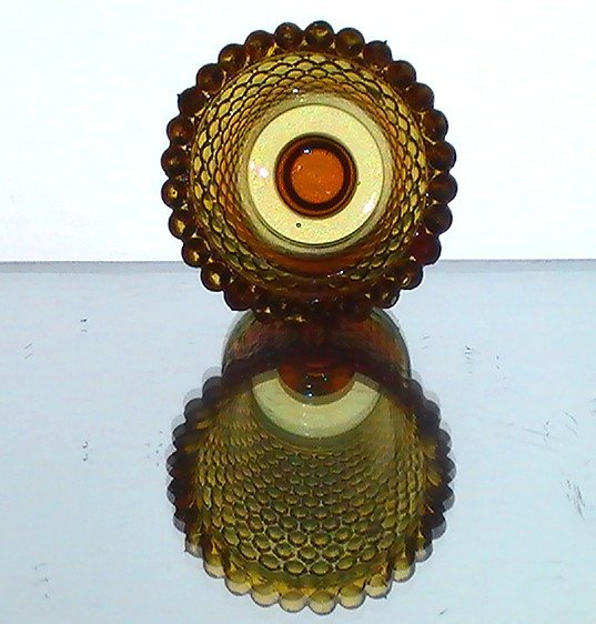 Home Interiors Peg Votive Holder Hobnail Amber Vintage