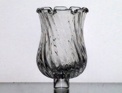 Peg Votive Candle Holder Clear Swirl with Crimped Rim 3.75 inches Small