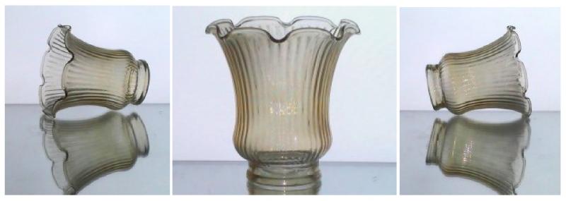Glass Lamp Shade 2.25 inch fitter x 4 x 4.75 Ruffled Ridged Light Amber