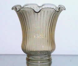 Glass Lamp Shade 2.25 inch fitter x 4 x 4.75 Ruffled Ridged Light Amber