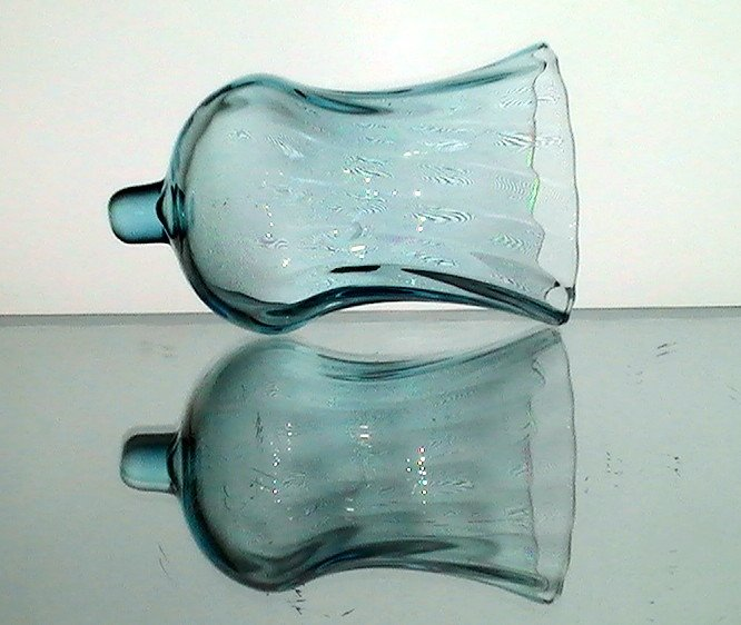 Home Interiors Peg Votive Holder Swirled Flare Aqua Blue