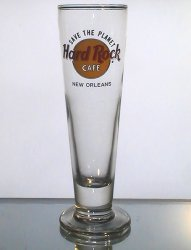 Hard Rock Cafe New Orleans Footed Slim Pilsner Beer Glass 14 Oz Collectible