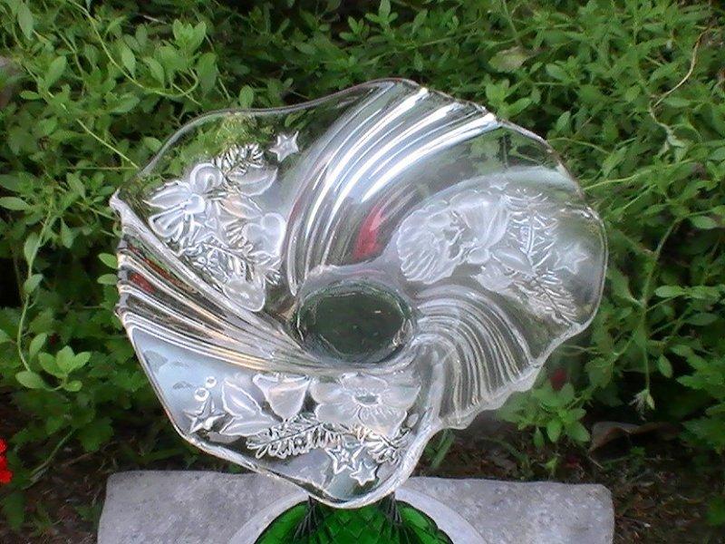 Glass Garden Ornament Bird Bath Feeder Celeste Candy Dish Oos