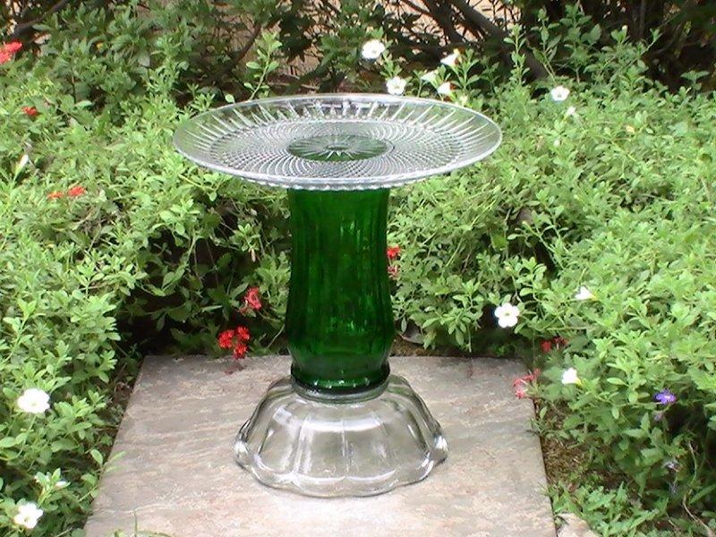 Pedestal Bird Feeders: Glass Garden Ornament Bird Bath Planter Pedestal Green