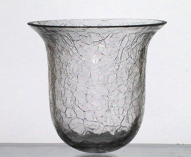Hanging Candle Holder Crackle Cracked Glass Cup 3 875w X 3
