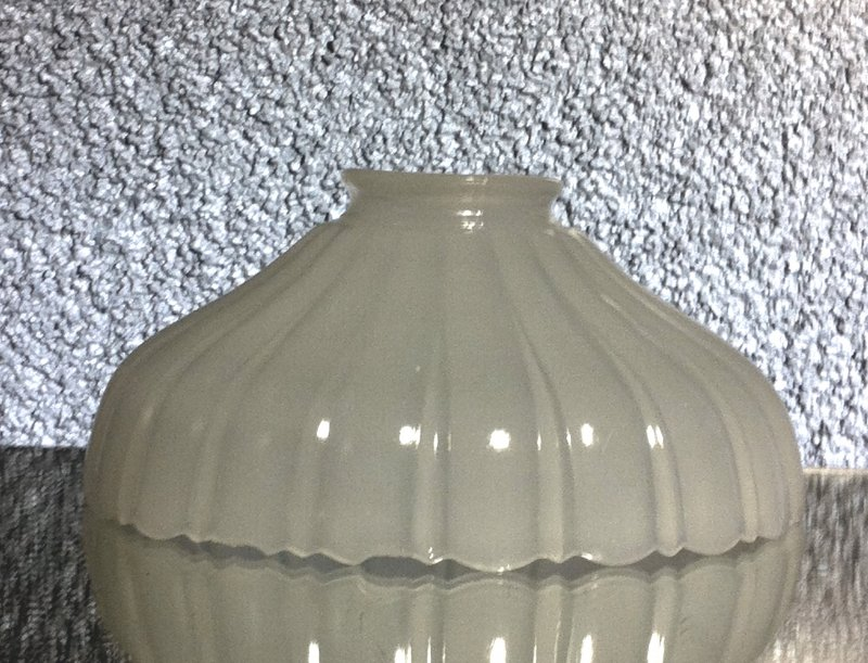 Milk Glass Lamp Shade White 2.25 inch fitter x 7 x 3.25 Gadrooned Early 1900's
