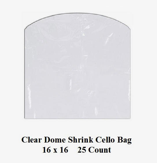 Clear Cello Dome Shrink Bags 16 x 16 25 ct pk Gifts Crafts Baskets Wrapping