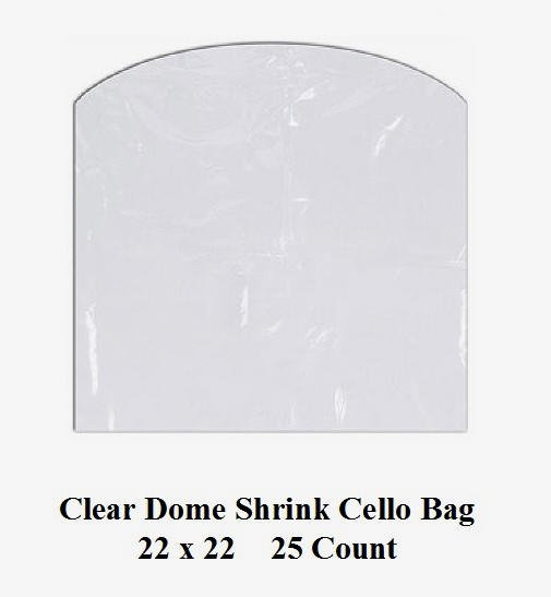 Clear Cello Dome Shrink Bags 22 x 22 - 25 Ct Pk Gifts Crafts Baskets Wrapping