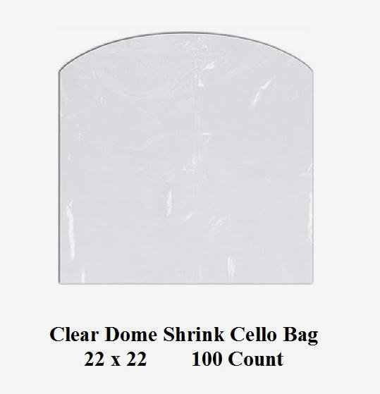 Clear Cello Dome Shrink Bags 22 x 22 100 ct pk Gifts Crafts Baskets Wrapping