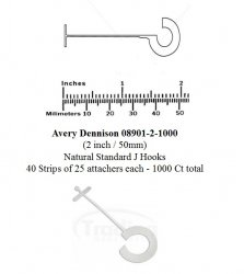 Avery Dennison 08901-2-1000 (2 inch / 50mm) Natural Standard J Hooks